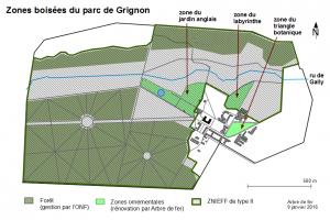 Zones boisées du domaine intra-muros de Grignon